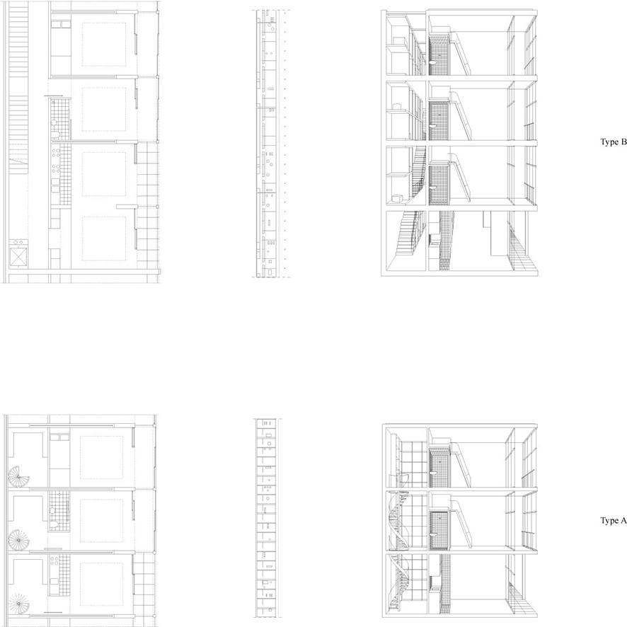 Housing typologies: Type A (Gallery housing) and Type B (Tower housing)