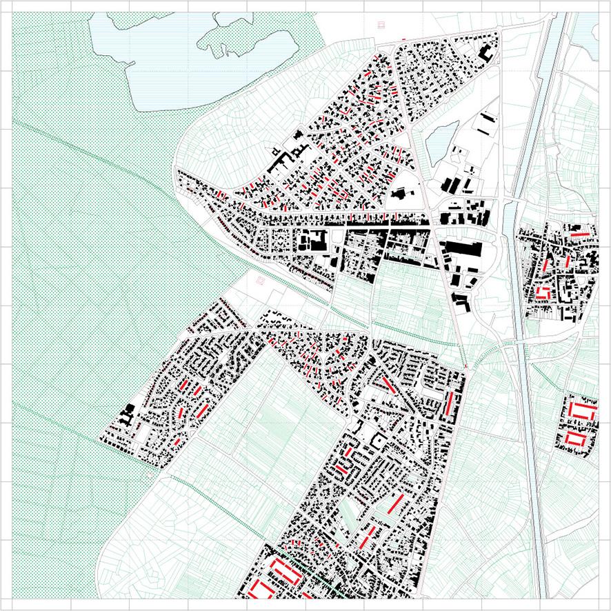 Last stage of shrinking (area 1) with potential densification of settlements (in red)
