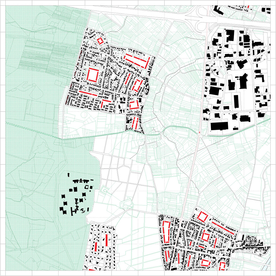 Last stage of shrinking (area 2) with potential densification of settlements (in red)